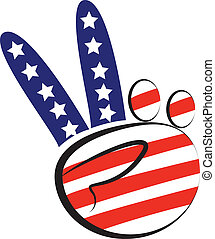 Hands peace symbol with usa flag