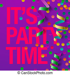 Party design template with streamers and confetti - Party...