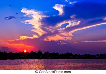 pôr do sol, céu, Nuvens, natureza, fundos