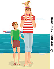 A man with little girl and boy on beach