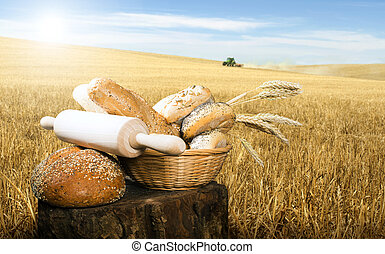 Bread and wheat cereal crops - Bread,rolling pin and wheat...