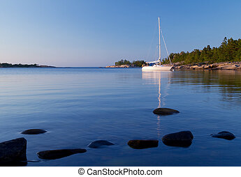Sailboat in the archipelago. - Sailboat at anchor in...