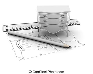 Furniture design with drawing and tools