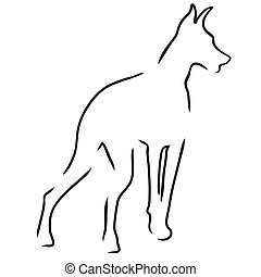 Doberman Outline - A stylized outline of a Doberman Pinscher...