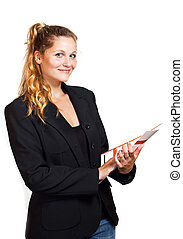 Young blond woman in business wear