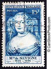 Postage stamp France 1950 Marie de Rabutin-Chantal, Marquise...