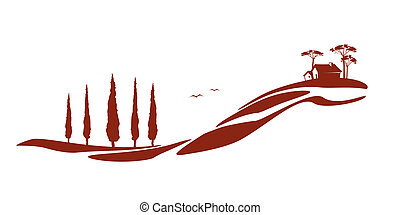 Tuscany graphic - A nice Tuscany graphic with a house and...