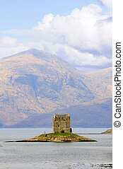 Stalker Castle in Scotland - Stalker Castle ruins in...