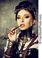 Gothic style - Portrait of a beautiful steampunk woman over...