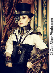 top hat punk - Portrait of a beautiful steampunk woman over...