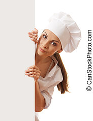 Woman chef, baker or cook holding white paper sign - Woman...