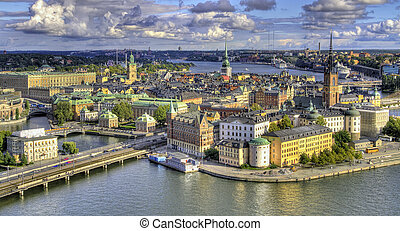 Aerial view of Stockholm. - View of Stockholm from above,...