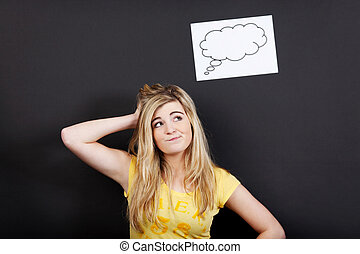 Confused Blond Teenage Girl Looking Up At Thought Bubble -...
