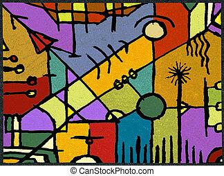 Hand Draw Artistic Design - Multicolored hand draw artistic...