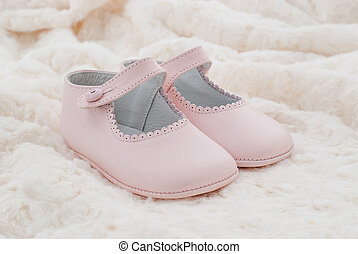 Leather shoes pink of baby - Leather shoes pink soft plush...