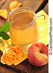 Peach tea - Peach and rose teain a glass mug