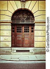Double door - Double wooden door in a London building