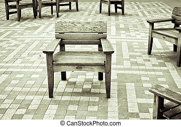 Wooden chairs - Group of wooden chairs on a patio