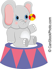 Baby circus elephant with ball - Scalable vectorial image...