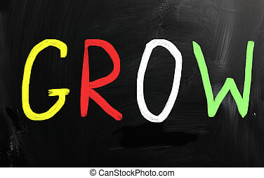 """""""Grow"""", manuscrito, blanco, Tiza, pizarra"""