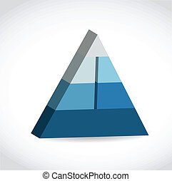 Blue glossy pyramid chart illustration design over white