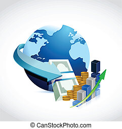 globe and money illustration
