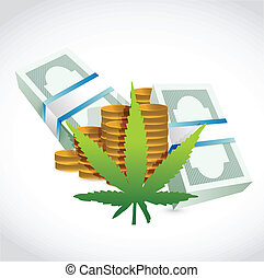 Piles of money currency and marijuana leaf. illustration...