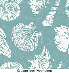 Vector pattern with sea shells - Seamless pattern with sea...
