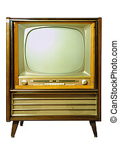 Vintage television isolated on white