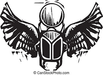 Winged Scarab - Woodcut style an Egyptian winged scarab...