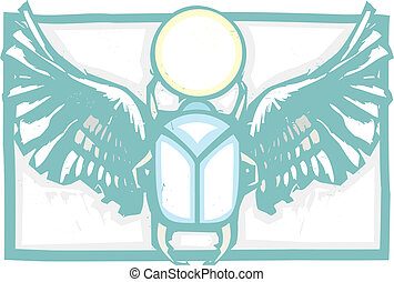 Winged Scarab Color - Woodcut style an Egyptian winged...