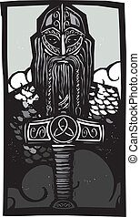 Thor and Mjolnir - Woodcut style image of the Norse God Thor...