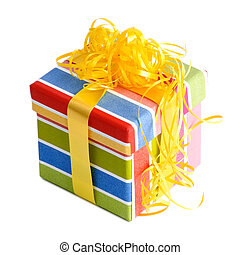 Colorful present on white background
