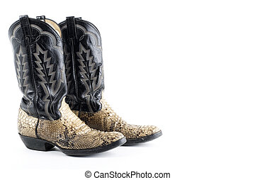 Snake leather cowboy boots on white