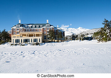 Lodge on Mount Ruapehu. - Lodge on Mount Ruapehu after the...