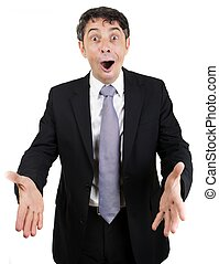 Overjoyed businessman with a pleased expression and his...