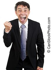 Jubilant man cheering - Jubilant business man cheering with...