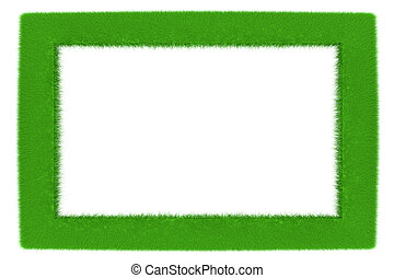 Green frame - A frame made of growing grass 3d illustration...