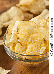 Unhealthy Crispy Potato Chips with Sea Salt