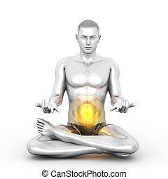 Manipura Meditation - A woman performing a Manipura chakra...