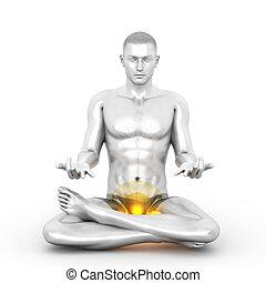 Muladhara Meditation - A woman performing a Muladhara chakra...
