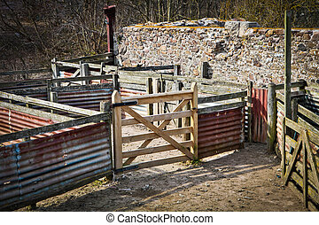 Sheep pen - Empty sheep pen in a farm yard