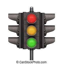 Traffic Light - Traffic light over white background, easy to...