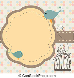 Birds invitation - Beautiful background with frame and...