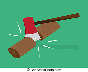 Ax Chopping Wood - Red ax chopping wood in half