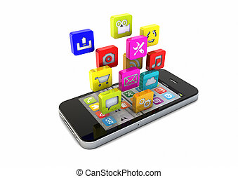 smart phone apps - render of an smartphone with app icons