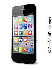 smartphone - render of a smartphone with an operating system...