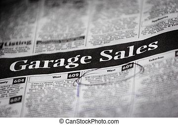 garagem, venda, anúncios, (shallow, profundidade,...