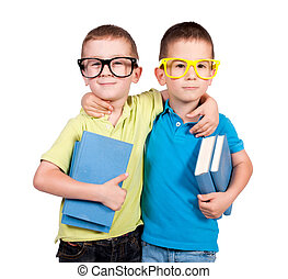 School time - Twins holding books isolated on the white...