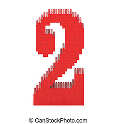Number2 built from toy bricks - Number2 built from red toy...